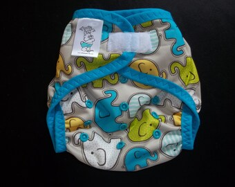 Elephant Walk Polyester PUL Cloth Diaper Cover With Aplix Hook & Loop Or Snaps You Pick Size XS/Newborn, Small, Medium, Large, or One Size