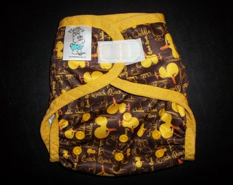 Waddle Waddle Ducky Polyester PUL Cloth Diaper Cover With Aplix Hook & Loop Or Snaps Pick Size XS/Newborn, Small, Medium, Large, or One Size