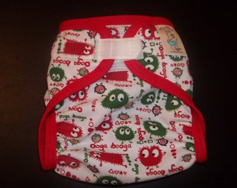 PUL Diaper Cover - Christmas Ooga Cloth Diaper Cover With Aplix Hook & Loop Or Snaps You Pick Size XS, Small, Medium, Large, or OS
