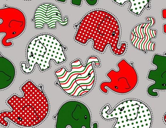 Christmas Elephant Walk Polyester PUL Diaper Cut 18 x 20