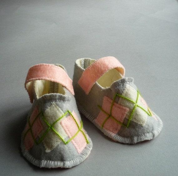 Pink Argyle -  Organic Felt Baby Shoes/ 3 mo. - 18 mo.