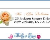 Peach Rose Personalized Address Labels