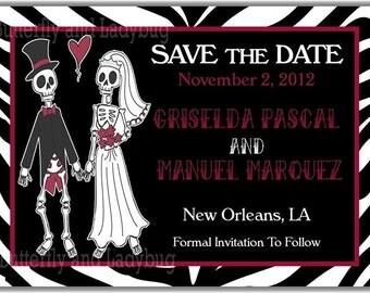 Sugar Skull Bride and Groom  Day of The Dead -Dias de los Muertos Zebra Personalized Printable Digital DIY Invitation or Post Card