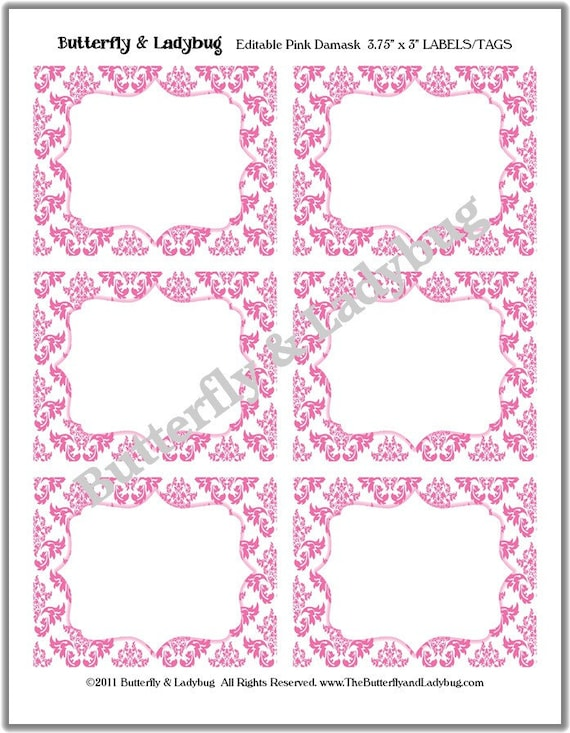 INSTANT DOWNLOAD- Printable EDITABLE Pink & White Damask Tags/ Stickers/ Labels Perfect for Labels, Buffet or Food Cards, Favor Tags