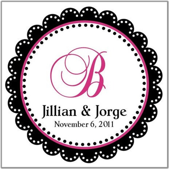 Dotted Frame Round Wedding Labels or Cardstock Tags (Any Text or Color)