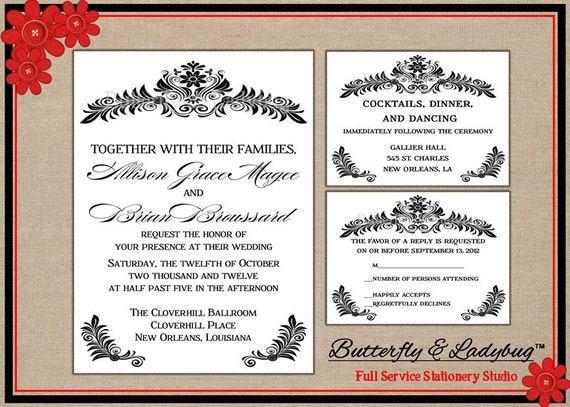 Ready To Print Wedding Invitations