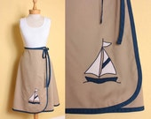 ON SALE Vintage 1970s Sailboat Wrap Skirt in Navy Blue & Tan Cotton