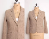30% OFF SALE 1970s Tweed Blazer in Camel Wool - Womens L