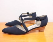 1980s Criss Cross Wedges in Navy Blue Fabric by Liz Claiborne - Size 6.5 Womens