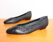 1980s Woven Flats in Deep Navy Blue Leather - Size 9 Womens - Unworn Dead Stock NWT