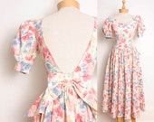 1980s Bow Back Dress by Laura Ashley / Floral Print Cotton Full Skirt Dress - Womens XS / S - Cream Yellow Mint Green Pink Purple Pastel