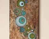 Copper River contemporary circles painting on thick canvas 12 x 30
