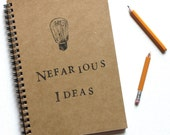 Nefarious Ideas Hand Stamped Spiral Journal Notebook Ready to Ship