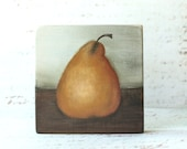 original painting still life fruit golden pear on wood