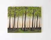 green brown forest trees woods landscape original art acrylic painting on canvas