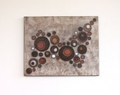 earthy brown circles copper rust orange white original art acrylic painting on canvas Terra Flow Original Acrylic Painting on 16 x 20 canvas