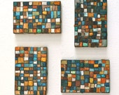 Little Mosaics original mixed media paintings on four canvases