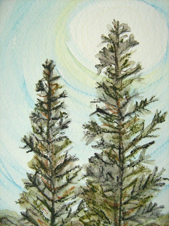 Night Pines original watercolor painting pine trees nature moon with 8x10 double mat