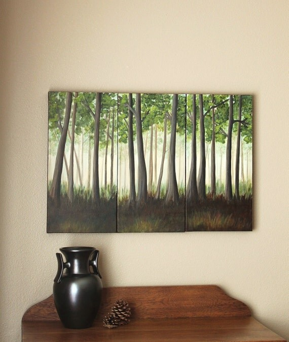 "Deep Forest Original Triptych Painting on Thick Canvas 30"" x 20"""