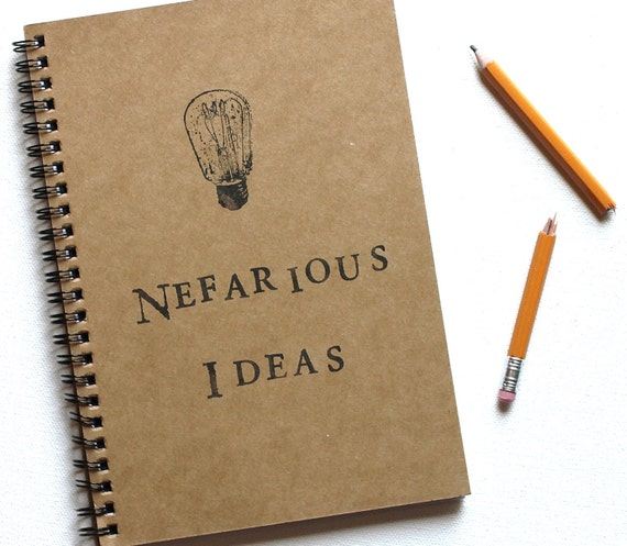 Nefarious Ideas hand stamped spiral notebook journal