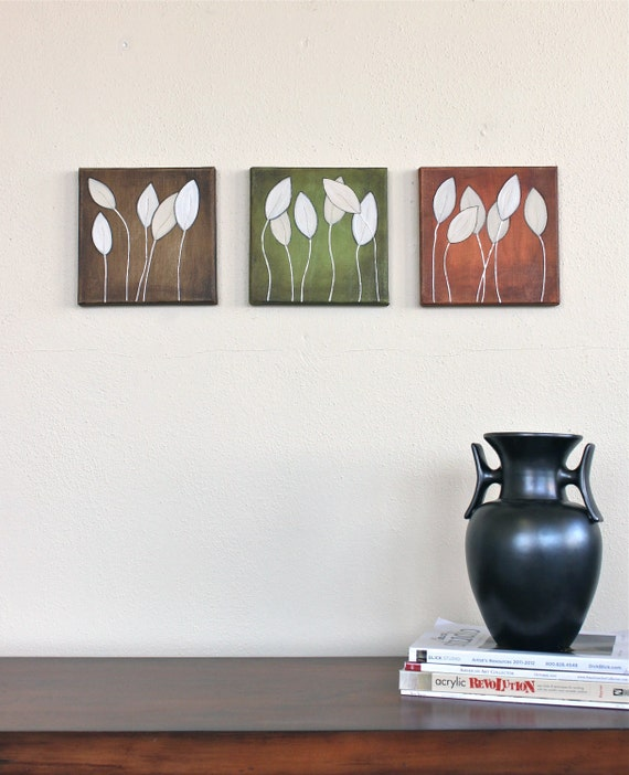 green brown brick red nature leaves original art acrylic paintings