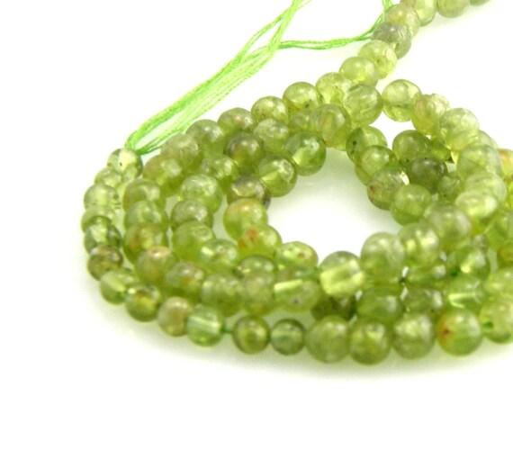 Peridot Gemstone Beads 4mm Round