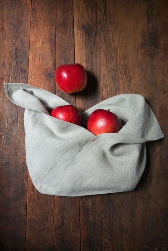 One large and one small natural linen origami bags