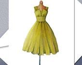 The Green Dress - Vintage Dress Notecard