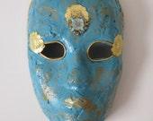 Mask - Venetian, Mardi Gras, Carnivale Style Paper Mache - Turquoise