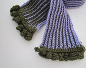 Crochet Scarf - Lavender and Olive Green - Reversible