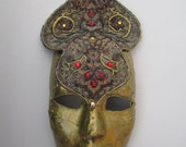 Mask - Venetian, Mardi Gras, Carnivale Style Paper Mache - Gold with Crown