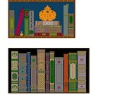 The Book Lovers Package - Bookshelf and Library - Two Needlepoint or Cross Stitch Patterns Designs Charts