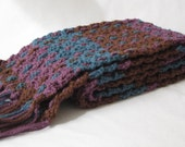 Crochet Scarf - Plaid - Brown Turquoise and Purple with Fringe