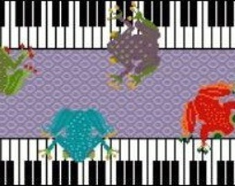 Needlepoint or Cross Stitch Pattern Design Chart - Frog Music - Colorful Frogs on Piano Keys