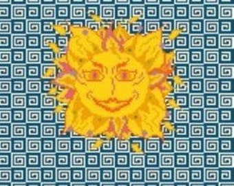 Needlepoint or Cross Stitch Pattern Design Chart - Sun With Face on Mosaic Tile
