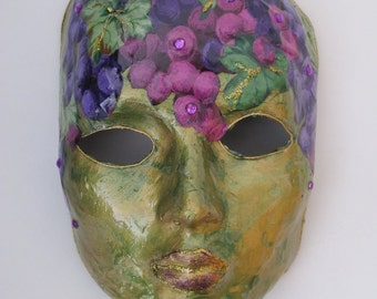 Mask - Venetian, Mardi Gras, Carnivale Style Paper Mache - Grapes