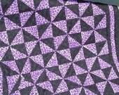 Purple Cheetah Pinwheel Quilt  for Girls Animal Print Baby Blanket
