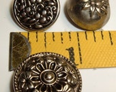 3 vintage  buttons silver tone