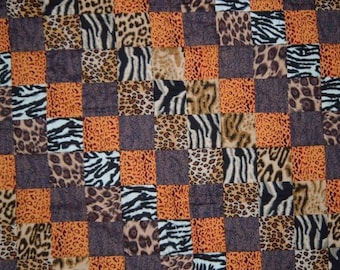Baby Quilt in Animal Skin Prints for Boys or Girls