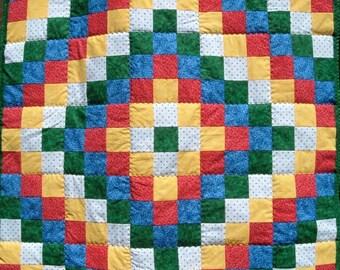 Baby Quilt in Rainbow Colors Boy or Girl Baby Blanket Nursery Bedding