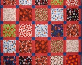 Just Sports Baby Quilt for Boys in Red and Blue Baby Blanket