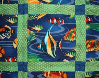 Twin Quilt Tropical Ocean Fish Blue and  Green for Boys or Girls