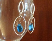 ICE DROPS - silver and blue drop earrings