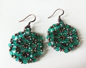 Jade Green Copper Earrings Beaded Dangle Earrings Beadwork Woven Earrings