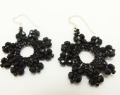 Black Earrings Beaded Jewelry Black Dangle Earrings Victorian Style Beadweaving Sterling Silver Earwires