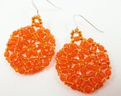 Pumpkin Orange Beaded Earrings Halloween Dangle Earrings Halloween Jewelry Sterling Silver Autumn Fall Season October
