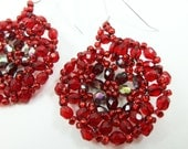 Red Beaded Earrings Red Dangle Earrings Circle Sterling Silver
