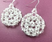 White Beaded Earrings Jewelry Sterling Earwires White Jewelry Beaded Jewelry