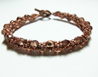Copper Bracelet Beaded Jewelry Bright Copper Sead Beads Copper Toggle Clasp
