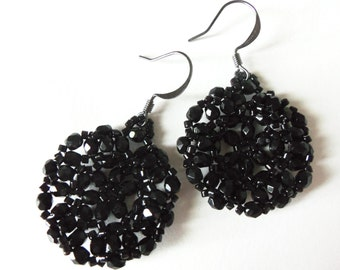 Beaded Earrings Black Jewelry Circle Dark Gunmetal Earwires